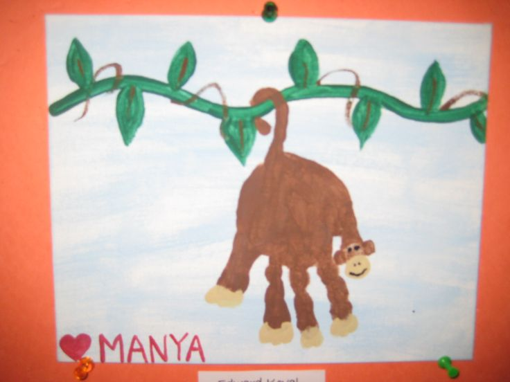 handprint monkey craft for crafty morning - handprint monkey craft ...