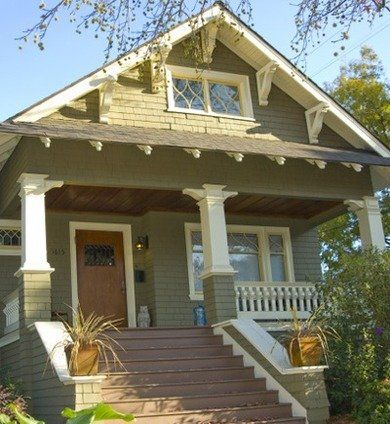 580 best craftsman style homes images on pinterest for Bungalow porch columns