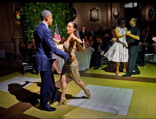 #44 #President #POTUS Of The United States  Of America Commander In Chief #BarackObama #FirstLady #FLOTUS Of The United States  Of America #MichelleObama dance the tango with tango dancers during the State Dinner at the Centro Cultural Kirchner, Wednesday, March 23, 2016, in Buenos Aires, Argentina. (AP Photo/Pablo Martinez Monsivais)