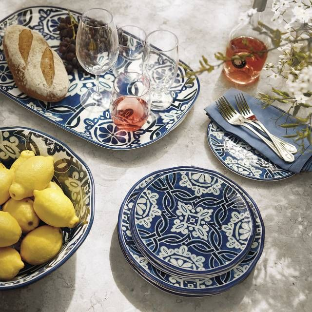 Inspired by florid Mediterranean design, the Mediterranean Tile Dinnerware and Serveware collection brings a festive air to dining alfresco. Crafted of durable, lightweight melamine, each mix-and-match piece is shatterproof and dishwasher safe. 100% melamine Shatterproof and food safe Top-rack dishwasher safe Suitable for indoor and outdoor use Not safe for microwave or oven use A Frontgate exclusiv...