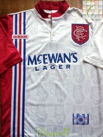 Relive Glasgow Rangers' 1996/1997 season with this vintage Adidas away football shirt.