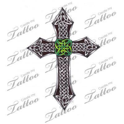 Marketplace Tattoo Shaded Celtic Cross with nice Irish green! #4395   CreateMyTattoo.com