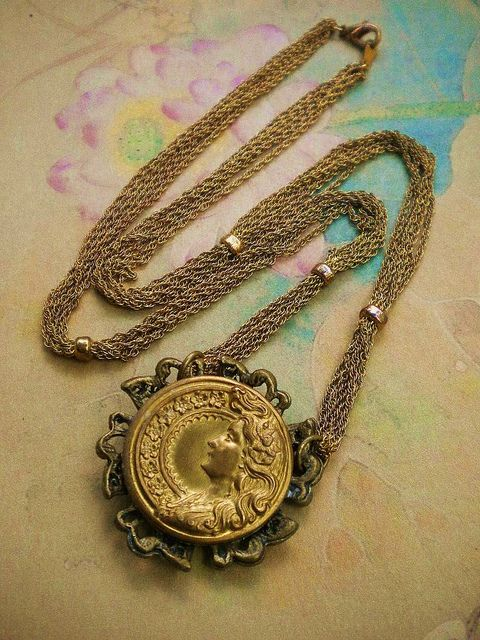 Recycled Art Nouveau Button Necklace by enamelowl, via Flickr