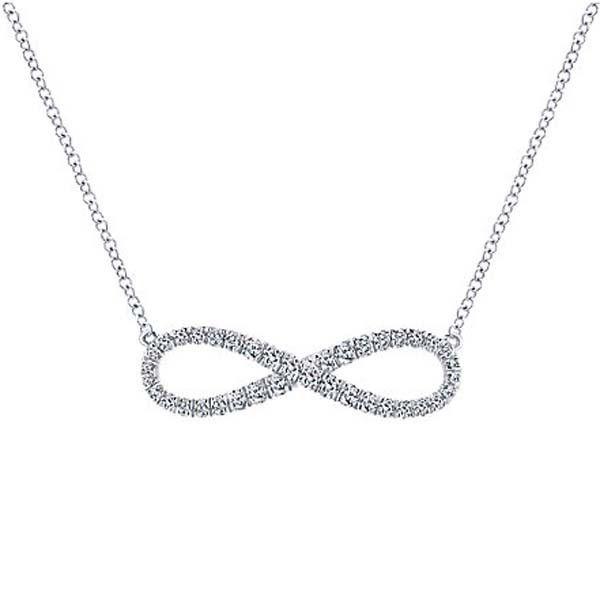 "Gabriel 14K White Gold ""Evermore"" Diamond Infinity Necklace Featuring 0.35 Carats Round Cut Diamonds. Ben Garelick Jewelers, Buffalo NY. Style NK5290W45JJ"