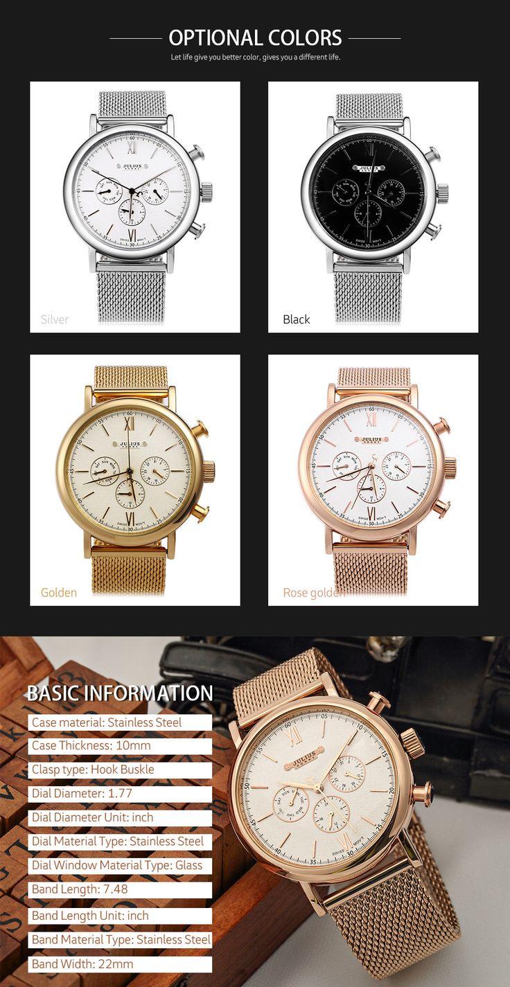 Julius Men Watches Top Brand Luxury Stainless Steel Mesh Band Gold Watch Man Business Quartz Watch Male Wristwatch Relogio - Online Shopping for Watches