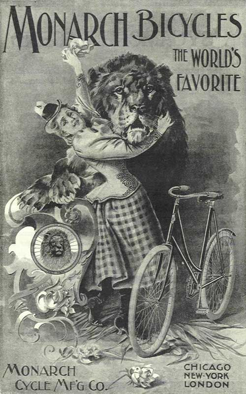 1896 Monarch Bicycles - best cycling poster yet from Annie's days. So funny.