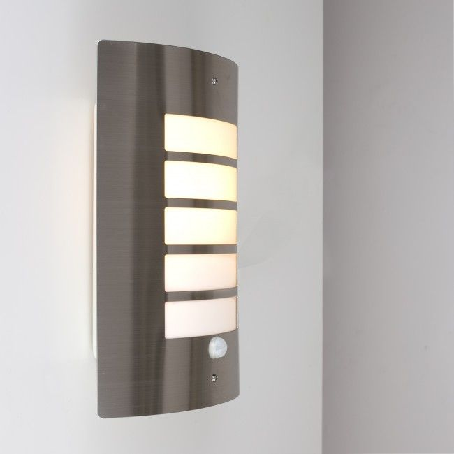 'Medlock' PIR IP44 LED Outdoor Bulkhead Wall Light with Security Sensor in Stainless Steel