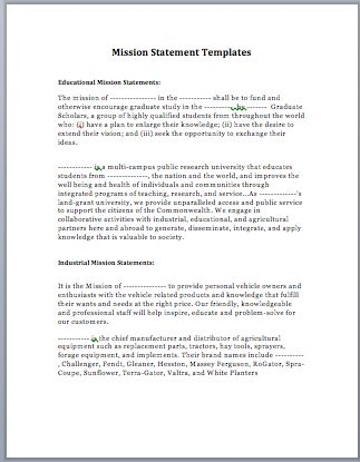 Best  Mission Statement Template Ideas On   Writing A