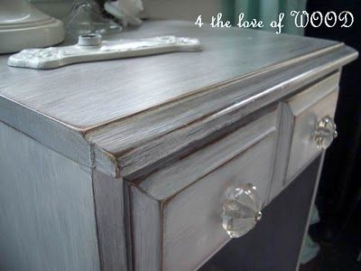 4 the love of wood: JUST PRIMER AND SOME WAX - how to white washed dove grey  This site has tons of info on different finishes and refinishing old furniture!