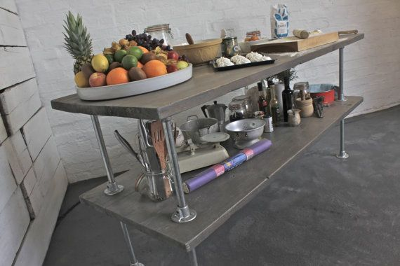 Deanna Reclaimed Grey Washed Scaffolding Board Kitchen Island Unit with…