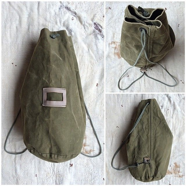 One of my favorite finds from yesterday's thrifting expedition - an #olivedrab #canvas #drawstring #bag that can be worn over the shou...