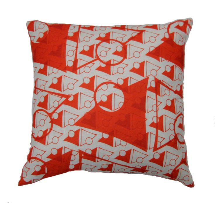 orange and white cushion cover, original Australian design FREE Shipping within Australia by PeachyArtandTreasure on Etsy