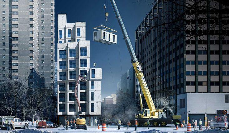 My Micro NY, a iniciativa faz parte de um plano do governo que visa solucionar o problema de falta de habitação a preços acessíveis na cidade. Somando 3.250 m² e nove andares, o edifício modular se divide entre 55 pequenos apartamentos que variam de 23 até 35 m². No formato de containers, as unidades pré-fabricadas, com estrutura de aço e lajes de concreto. Escritório nArchitects, responsável pelo projeto.