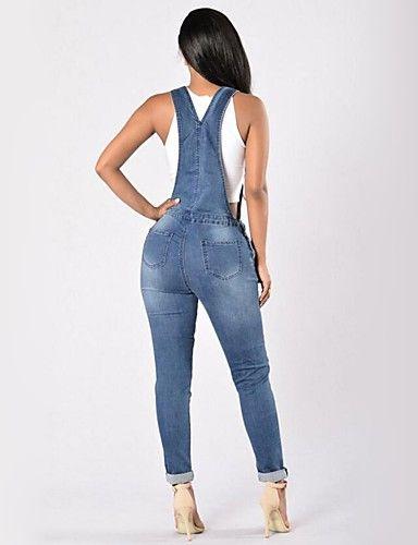 168ed1a41ab 28.99  Mujer Chic de Calle Pitillo Vaqueros   Mono Pantalones - Un ...