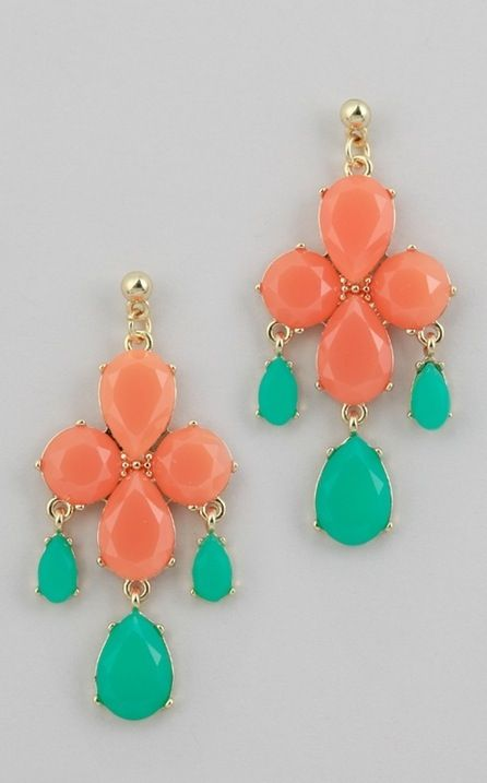 coral and aqua.: Colors Combos, Coral, Style, Spring Colors, Turquoise Earrings, Colors Combinations, Statement Earrings, Dangle Earrings, Summer Colors