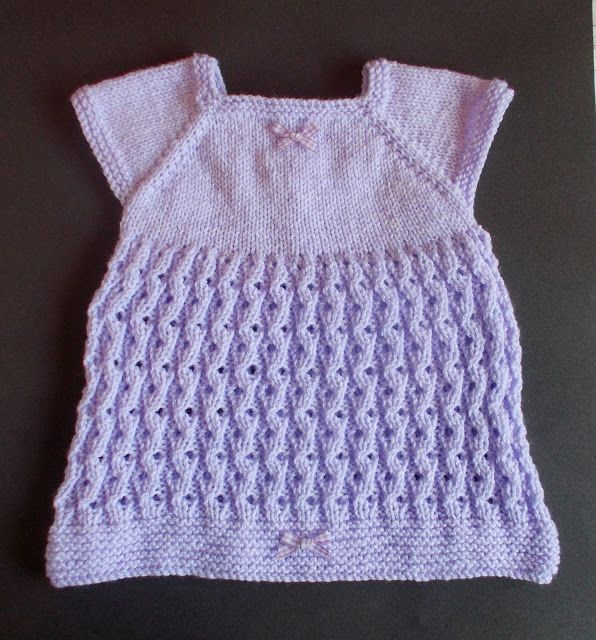 Well, you lovemy Lilac Blossom baby cardigan jacket, hat and booties ..............  So here is the baby dress for you.   This stitch isso pretty and it is easier than it looks :)    Lilac Blossom