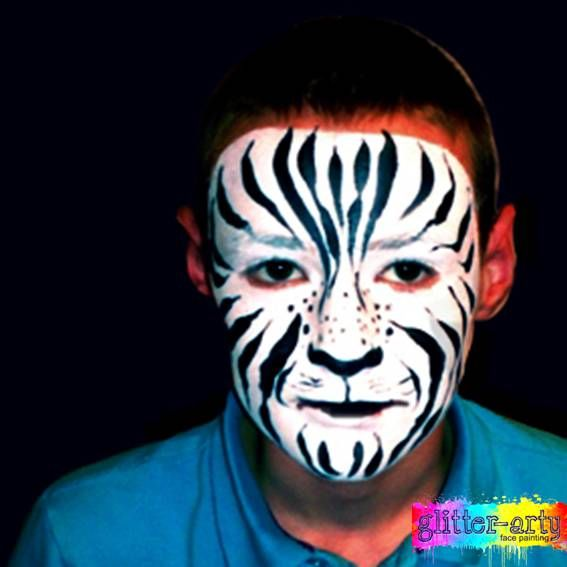 Zebra / tiger Face Painting for men and boys by Glitter-Arty Face painting Bedford Bedforshire