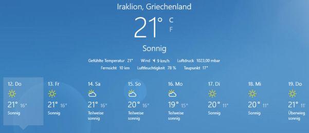 Sommer-Temperatur-Kreta