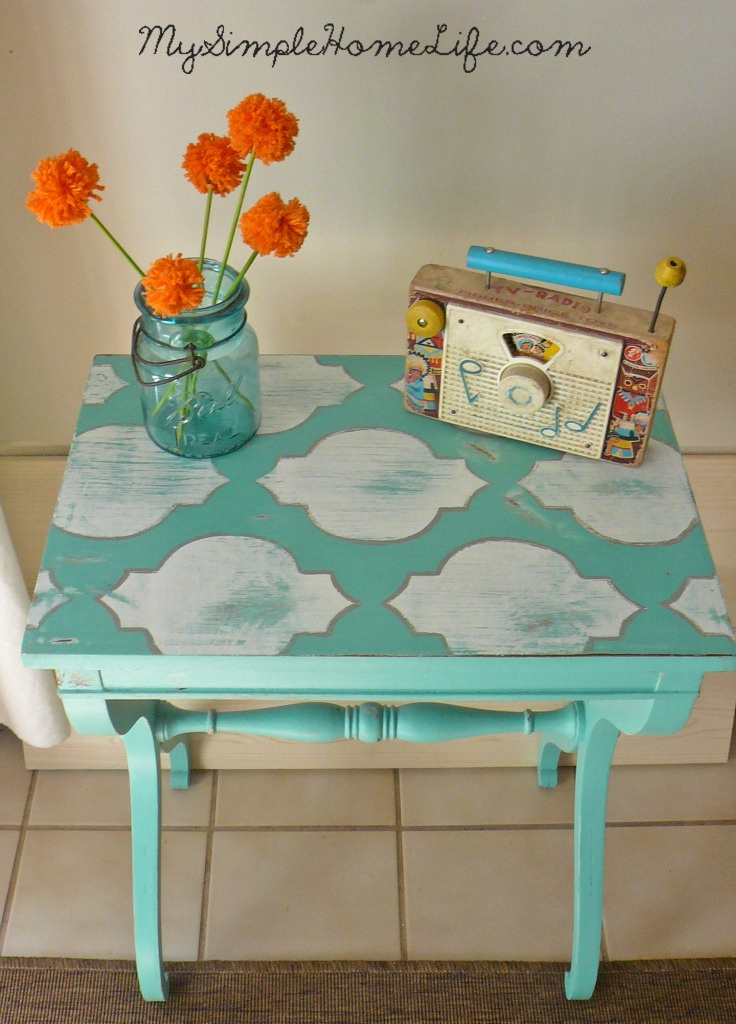Simple Home Life: Stenciled Blue Table -- you can do this using old TV trays and make each one a different pattern but with the same color scheme. Whimsical and sweet.
