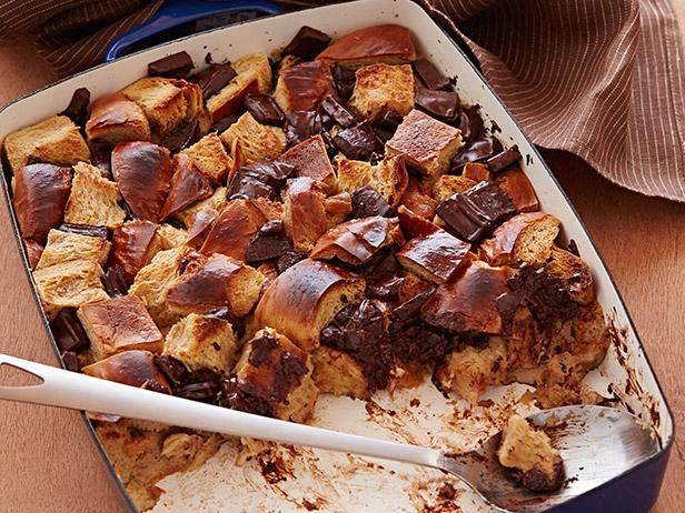 Chocolate Bread Pudding : Alton Brown recommends stale challah bread and bittersweet chocolate for this warm, rich dessert.