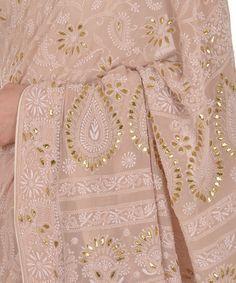 Oyster Pink Intricate Chikankari With Gota Patti Pure Georgette Saree