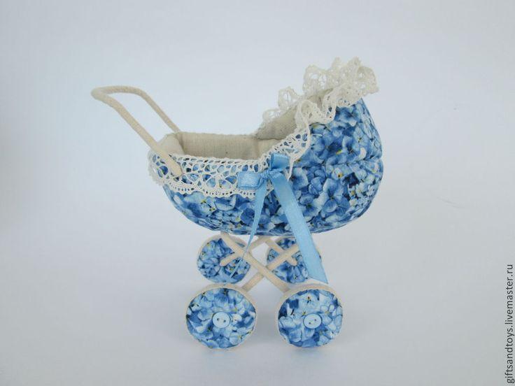 Коляска для пупсика - синий,коляска для кукол,подарок девочке,кукольные аксессуары