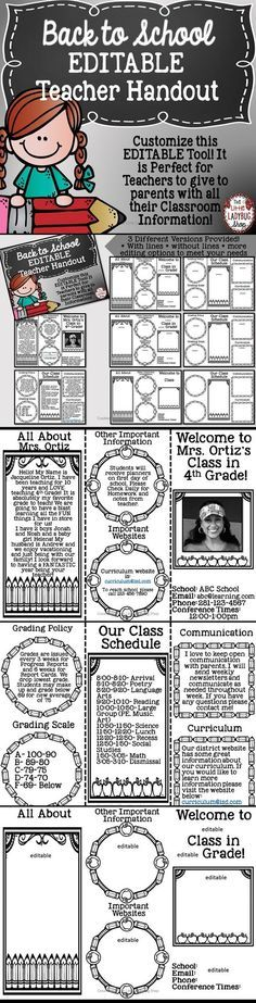 Back to School Teacher Brochure {Editable}   Back to School   Teacher Brochure   Back to School is such a wonderful and BUSY time of the year! This perfect and easy tool is a wonderful way for parents to get to know All About YOU and your Classroom Information. Having this brochure pamphlet is an EASY and wonderful tool for them to keep with all your important class information! CLICK to get YOURS!