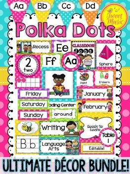 Polka Dot Brights ULTIMATE Classroom Decor SetLooking to brighten up your classroom this year? This coordinated set of polka dot posters, labels, calendar cards, number sets and more will add some cheerful color and style to your classroom. This bundle contains all the polka dot coordinates that are in my store.This product has had a significant revision on August 3, 2014.