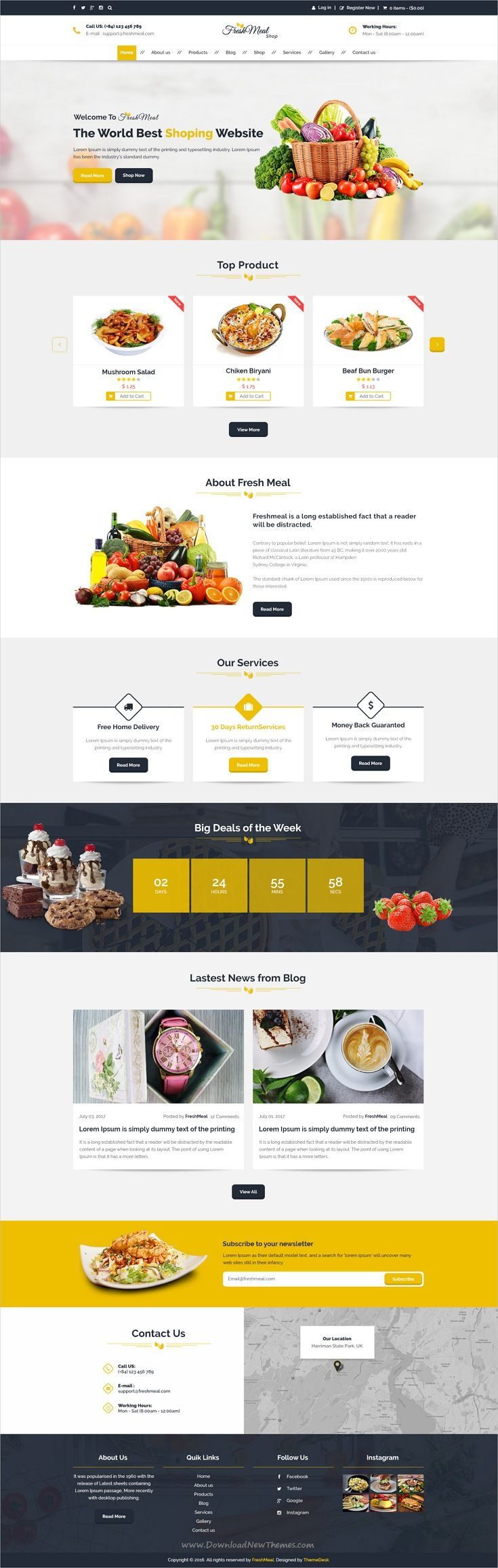 D health food store in l a - Freshmeal Organic Foods Store Psd Template