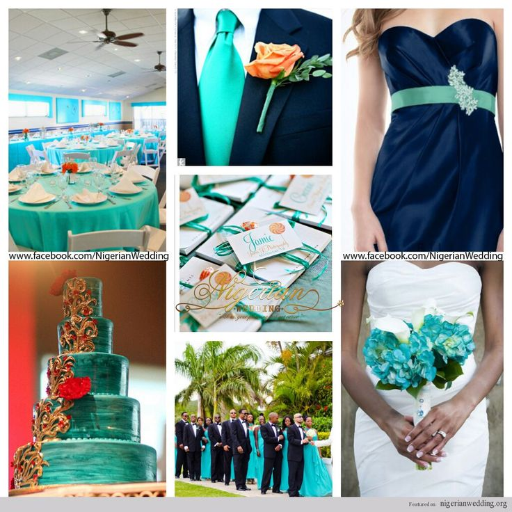 Nigerian Wedding Cyan Aqua Blue And Navy Color Scheme