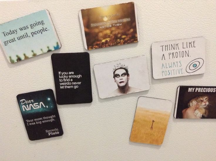 Upgrade old magnets with fun saying and pictures using adhesive glue and modge podge!:P