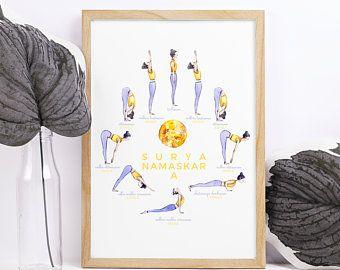 set of 2 posters a2 printable yoga poster and a2 surya