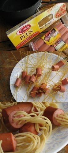 Hot Dogs & Spagetti...Really! We have done this a few times at our place and the kids LOVE it!! Serve it with cheese sauce! (Like mac-n-cheese)