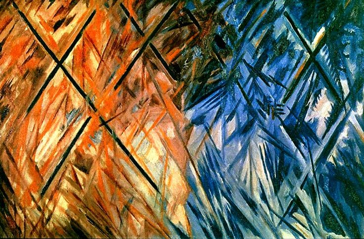 """Red and Blue Rayonism"" · Mikhail Larionov · 1913"