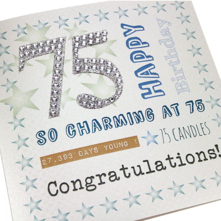 Handmade Mens 75th Birthday Card Stars Blue Green Self Adhesive