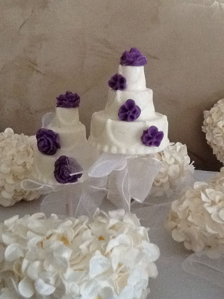 White Chocolate decorated in chocolate flowers.  You may incorporate your wedding theme colors.