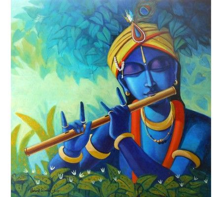 Modern Krishna Radha Oil Paintings