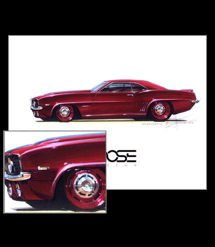 Chevrolet Camaro custom drawing by Chip Foose, Foose projeto