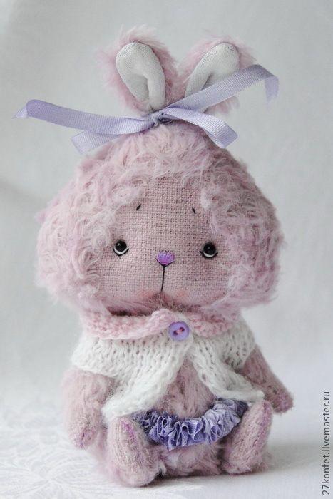 Купить Фиолетовый зайка с бантиком - заяц, зайка, маленький зайчик, коллекционные игрушки, Юля Овцына