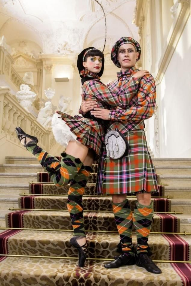 Dancers in the punk-inspired costumes they'll wear for the Vienna State Ballet's famous New Year's concert Designed by Vivienne Westwood.