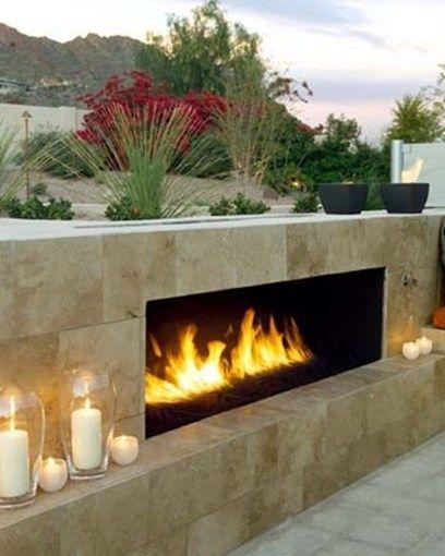 Short Outdoor Fireplace   Gas Fueled Fireplace   Urban Earth Design Phoenix, AZ