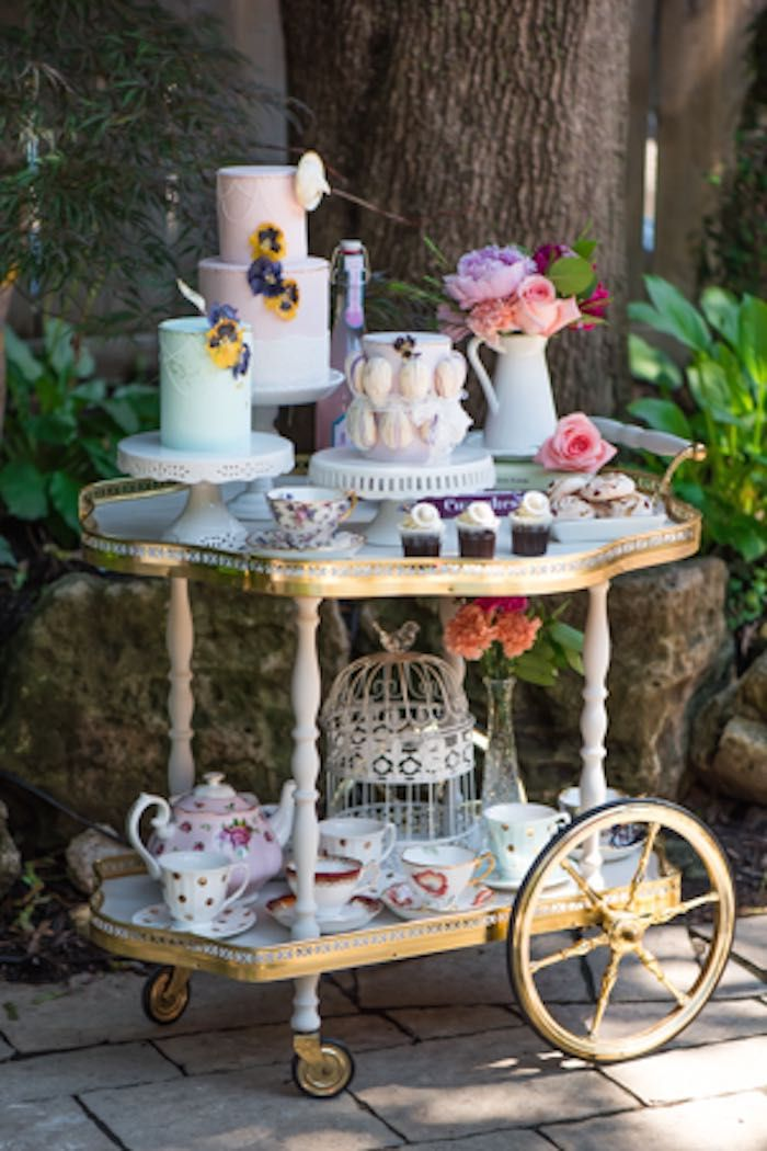 Vintage Tea Cart Loaded with Flowers, Cakes, and More via Kara's Party Ideas | karaspartyideas.com