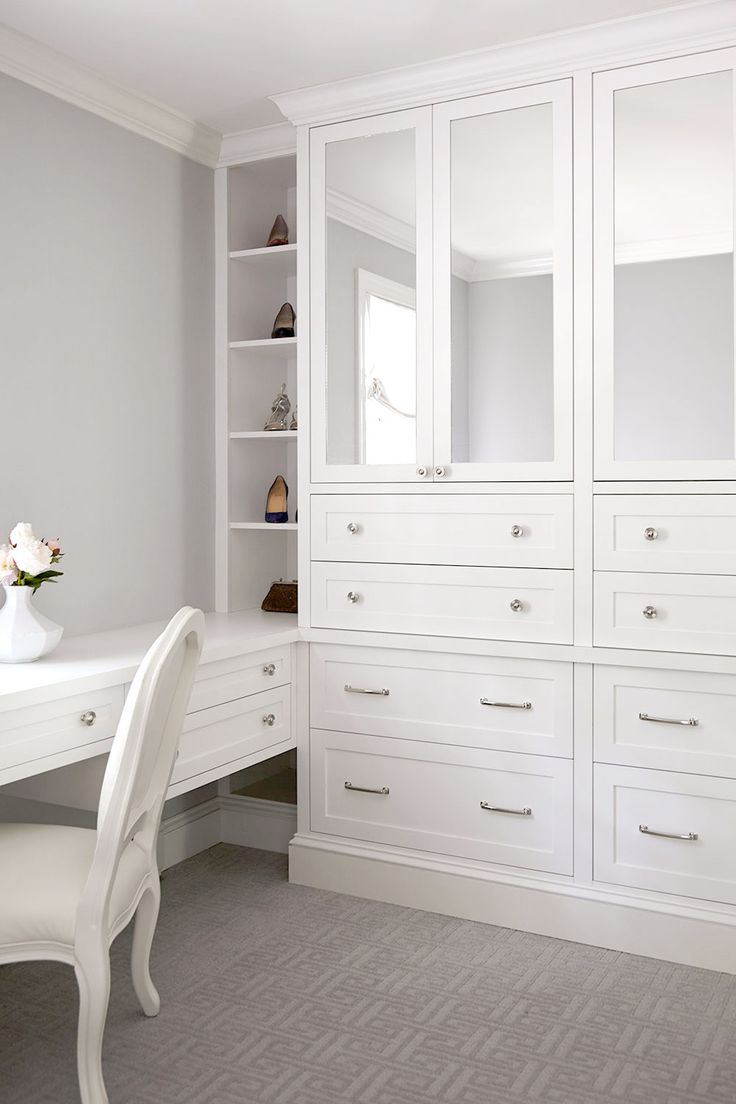 Custom Dressing Room With Built In Mirrored Wardrobe And Floating Vanity Shoe And Bag Display