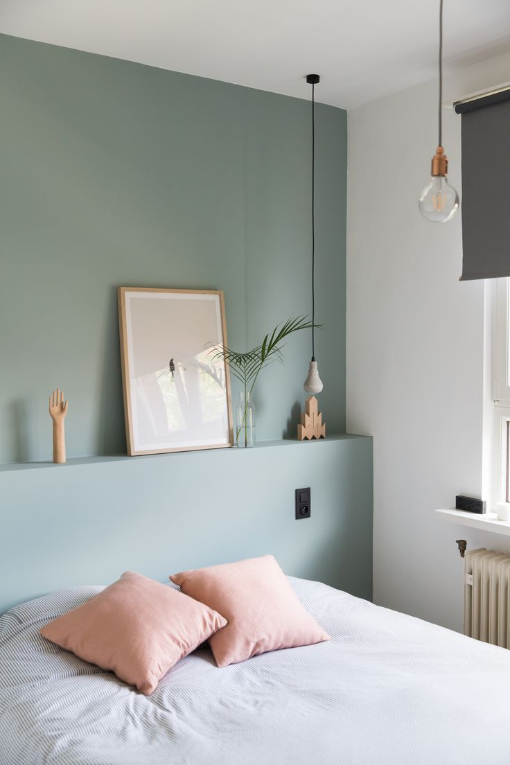 Pink and green bedroom. Great idea for a small space, instead of bedside tables use a built-in ledge behind the bed