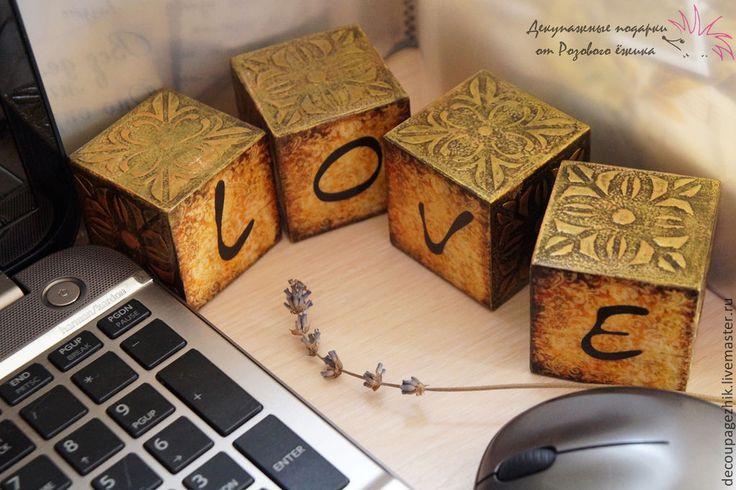 Купить Интерьерные деревянные кубики со словами (кубики с буквами) - кубики деревянные, интерьерные кубики