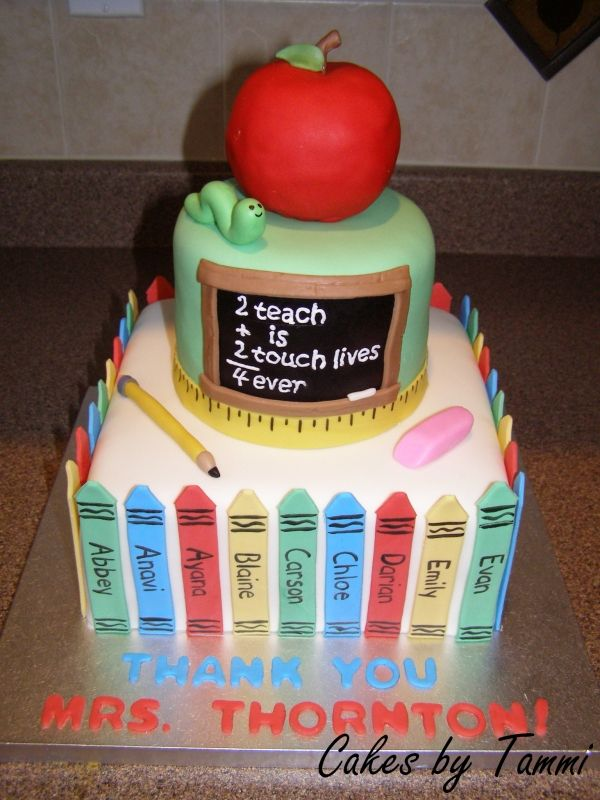 Teacher Appreciation Cake.  I need to make this for my daughter!!!!   She is a great stay at home teacher!!!