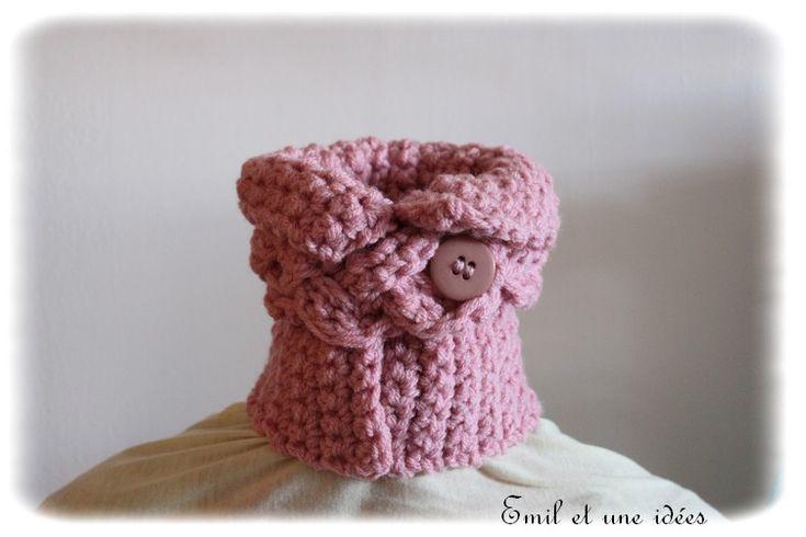 cache cou rose crochet, fausse tresse