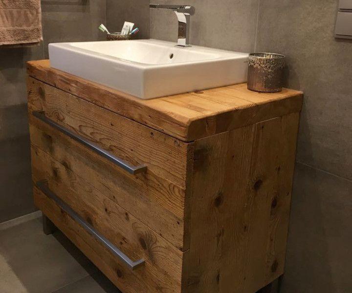 Holz Eleganter Waschtischunterschrank Aus Altholz Mit Schubladen