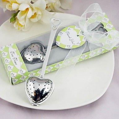 """Tea Time"" Stainless Steel Heart Tea Infuser Wedding Favor – USD $ 2.81"