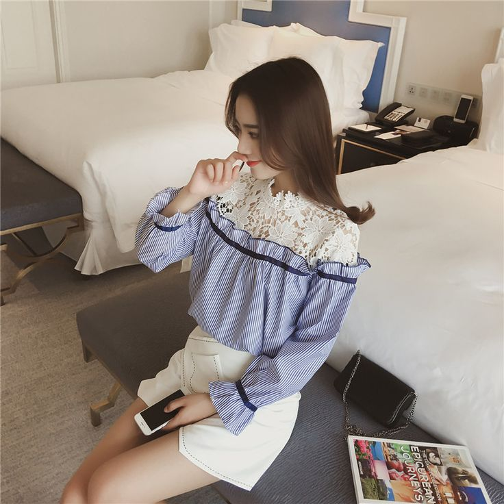 Fashion Spring New Cute Lace Stitching Hollow Sexy Women's Shirt l Flare Sleeves Girls Blouses Striped Shirts Lady Blusas S-XL
